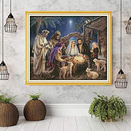 QQSGBD El Nacimiento del bebé Jesús Patrones, Kits de Aida Lienzo de Punto de Cruz, Bordado de la Costura Set, decoración casera Enviar Herramientas accesorias