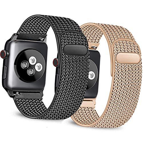 Mugust Pack 2 Correa Compatible con Apple Watch Correa 38mm 42mm 40mm 44mm, Malla de Acero Inoxidable Correa de Bucle con, para iWatch Serie 5/4/3/2/1 (38mm/40mm, 02 Negro+Oro Rosa)