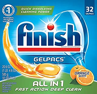 Finish All In 1 Gelpacs, Orange 96 Tabs (3 Packs x 32 Tabs), Dishwasher Detergent Tablets