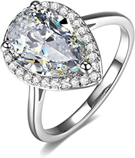 UMODE 18K White Gold Plated Teardrop Halo Pear Cut 4 Carat Cubic Zirconia CZ Engagement Wedding Ring for Women