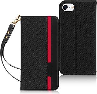 iPhone SE ケース 第2世代 iPhone8 ケース iPhone7ケース FYY スマホケース PUレザー 手帳型 軽量 薄型 ワイヤレス充電対応 カード収納 スタンド機能 ストラップ付き ハンドメイド 耐衝撃 iPhone SE 第2世代 (2020年モデル) / iPhone8 / iPhone7 4.7インチ対応 (ブラック×レッド)