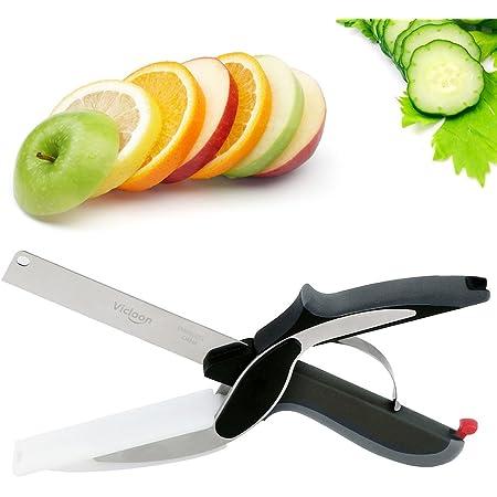 1 en 2-Clever Cutter Cuisine Hachoir Couteau et planche à découper l/'outil Slicer Ciseaux