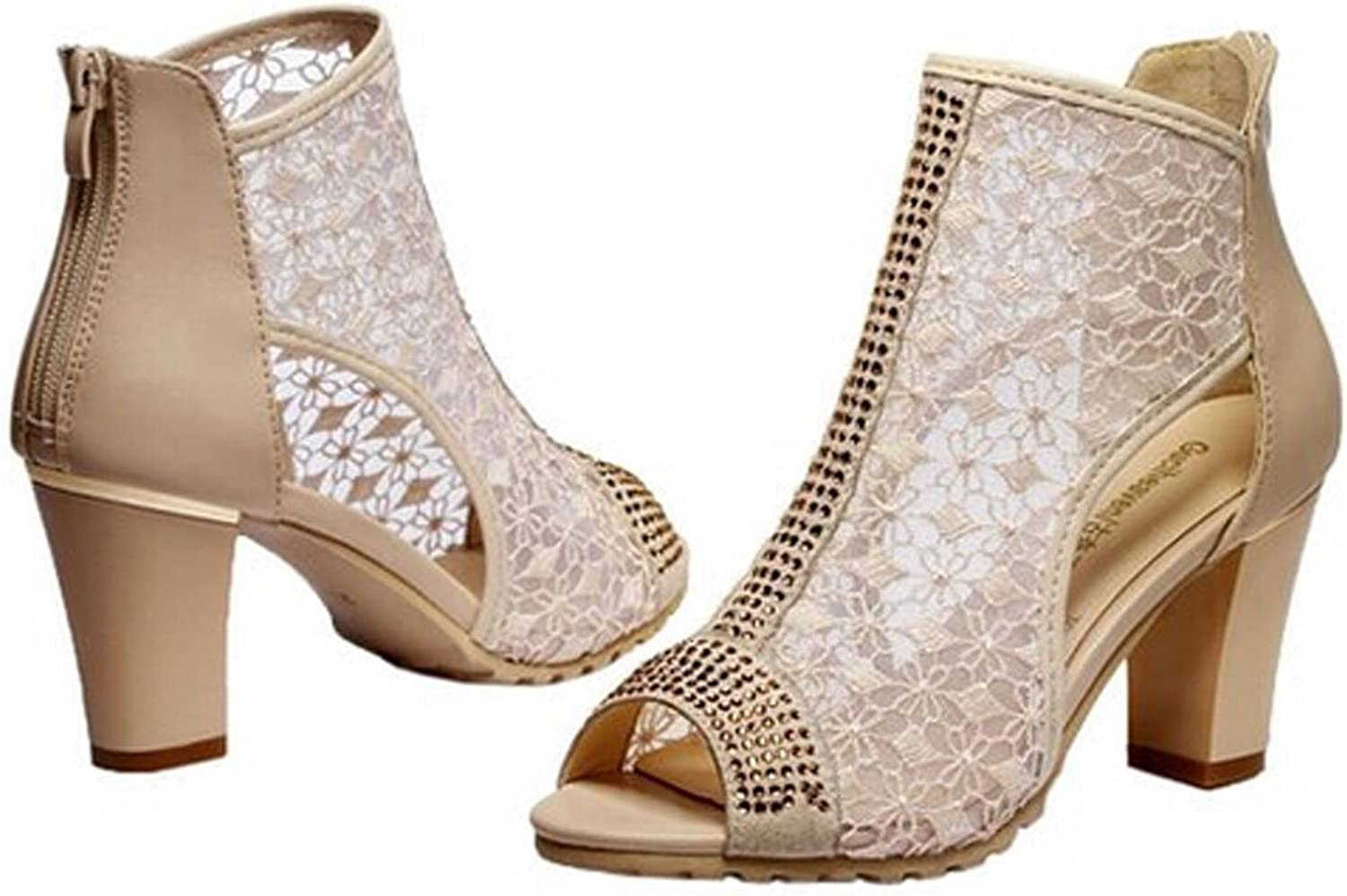 San hojas Women Beautiful Peep Toe Thick High-Heeled Mesh Pump Boots Beige
