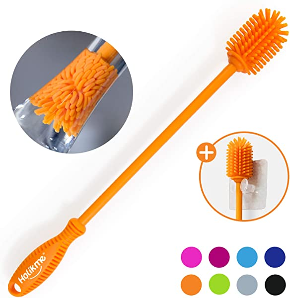 Holikme Silicone Bottle Brush Bottle Cleaner For Your Bottles Vase And Glassware Best Water Bottle Cleaning Brush For Washing Narrow Neck Containers Orange
