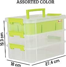 Kurtzy Plastic Storage Box 3-Layer Transparent Portable Organizer Container, 27.4X18X19.3 cm