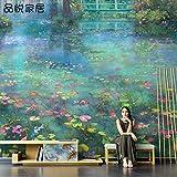Tapeten Nordic Handgemalte Ölgemälde Gartentapete Monet Seerose Landschaft Wand Wohnzimmer Tv Hintergrund Tapete Nahtlose Wandverkleidung-200 * 140Cm