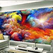 Papel pintado tejido no tejido 3D - Arco iris nubes paisaje 350x256 cm - 7 tiras Fotomurale Moderna para Dormitorio Sala de Niños Pasillo TV Decoración de Fondo