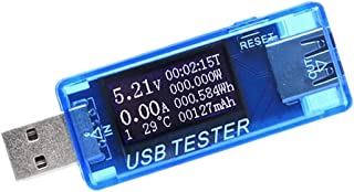 USB Tester, 8 in 1 USB Safety Tester Multimeter Test Current and Voltage Meter Monitor,Digital Tester with Voltmeter Ammeter USB Multimeter Mobile Electrical Power Detector for USB Charger Doctor/blue