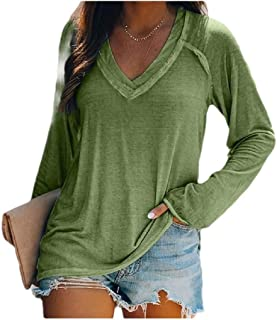 HEFASDM Women's Blouse Solid Long Sleeve Oversized V-Neck Casual Tees Top