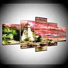 ZHFFYY Canvas Painting 5 Piece Lighthouse Watercolor 5 Piece HD Wallpapers Art Canvas Print Modern Poster Modular Art Painting for Living Room Home Decor