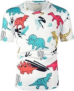 Men's Short Sleeve 3D Dinosaur Cartoon Print Round Neck Slim Casual Short Shirts