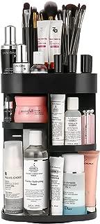 Jerrybox Makeup Vanity Organizer, Adjustable Makeup Cosmetic Storage Holder Rack for Countertop, 360 Rotation Make up Organizers for Bathroom, Square, Black