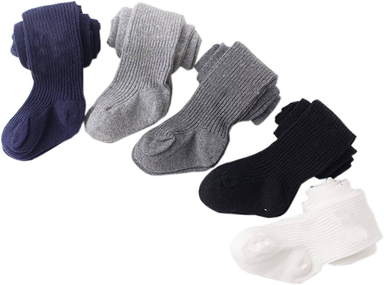 Socks for 0-4 Years Khaki Tininna 2 x Baby Girls/' Cotton Stretch Winter Knitted Tights