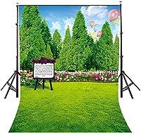 HD 7x10ft漫画自然の庭の風景の背景飛行風船色とりどりの花緑の庭の写真の背景赤ちゃんパーティーLYLE029