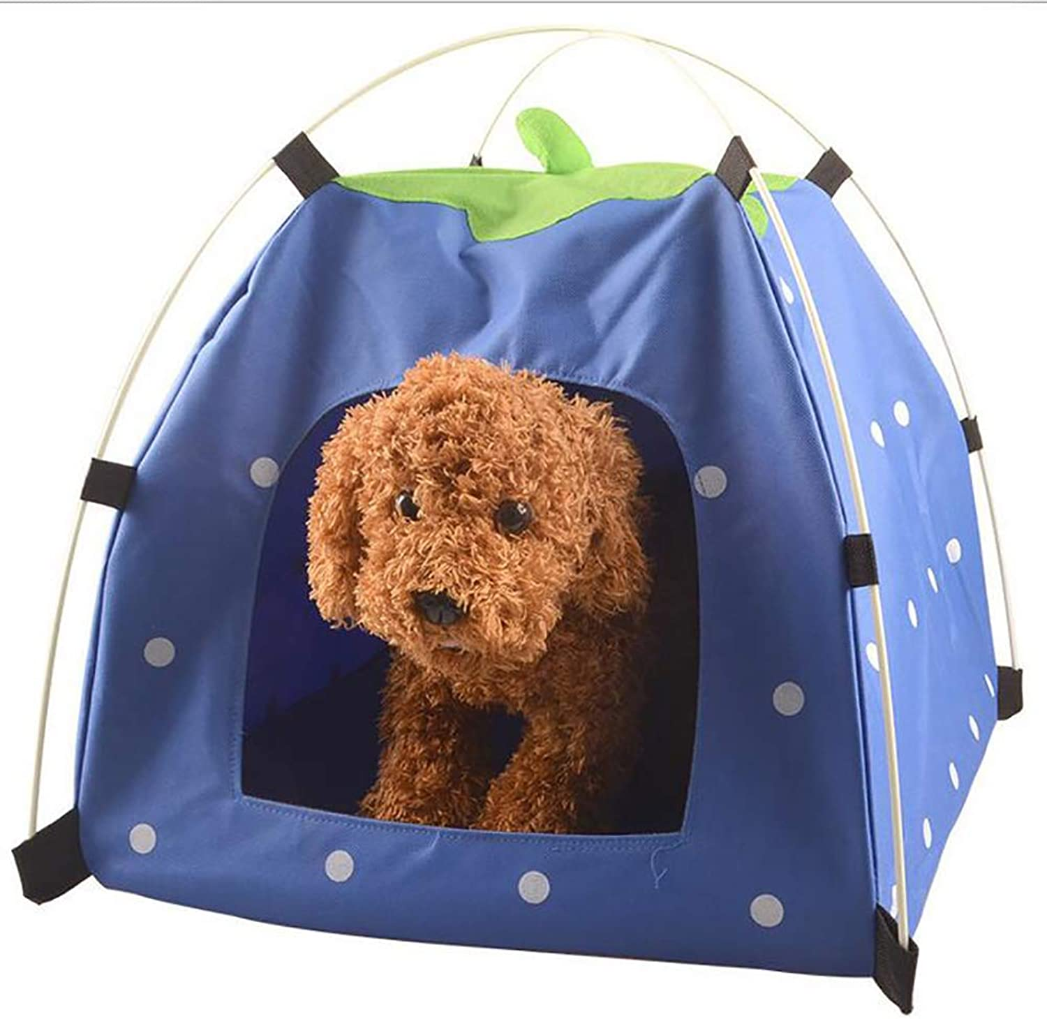 Portable Pet Tent, Washable Folding Pet Tent Camping Shelter,Durable Four Seasons Universal, for Dogs and Cats,bluee