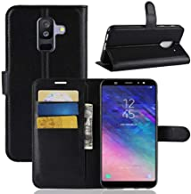 Samsung Galaxy A6 Plus (2018) Leather Wallet Flip Card Stand case Cover Black