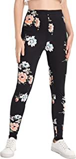 Sponsored Ad - SOLY HUX Girl's Floral Print Elastic High Waisted Leggings Pants