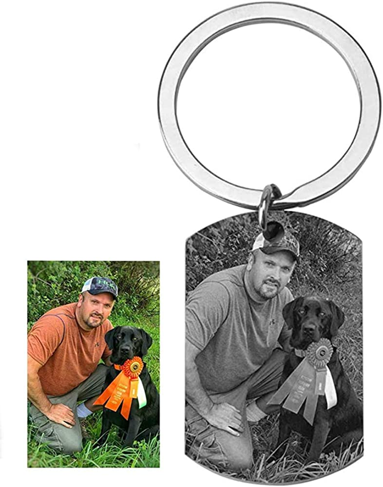 ZTZ Personalized Photo Custom Text Military Dog Tag Name Keychain Key Tags Keyring Engraved Picture Image