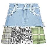 ShSnnwrl Falda Corta Faldas de Mezclilla con borlas, minifaldas de Retazos Vintage, Faldas de Mezclilla de Cintura Alta, Ropa de Calle Esta
