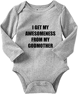I Get My Awesomeness from My Godmother Long Sleeve Baby Bodysuit One Piece Oxford Gray 12 Months
