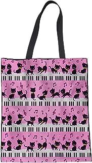 HUGS IDEA Cat Music Print Tote Bag Women's Fashion H
