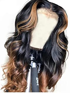 QUINLUX WIGS 150% Density Body Wave Lace Front Human Hair Wigs Ombre Color 1BT30 Glueless Brazilian Human Hair Front Lace ...