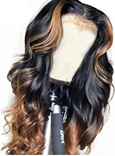 QUINLUX WIGS 150% Density Body Wave Lace Front Human Hair Wigs Ombre Color 1BT30 Glueless Brazilian Human Hair Front Lace Wig With Highlight (22Inch, Lace front wig)