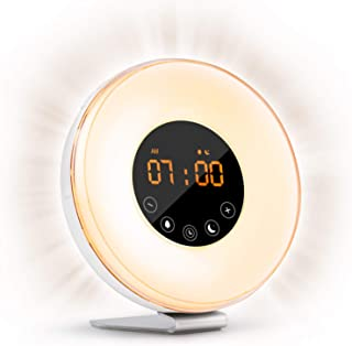 Sunrise Alarm Clock Wake Up Light FM Radio Clock Night Light for Heavy Sleepers & Kids - 7 Adjustable Colors - Sunrise and Sunset Simulation with Touch Control