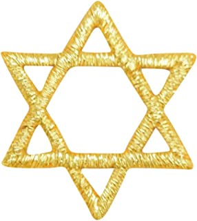 SMALL Hannukah Jewish Star of David GOLD Iron on Embroidered Patch Applique