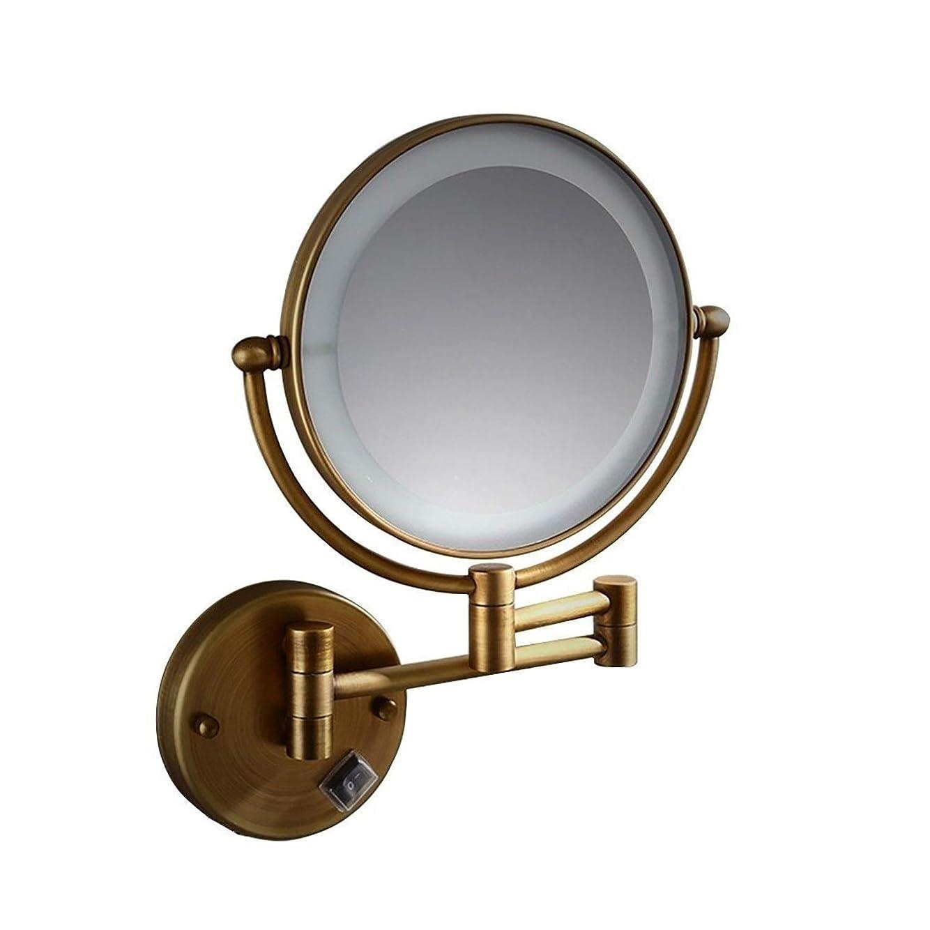 速報ちょっと待ってジュース壁掛けメイクアップミラー 両面照明付き化粧鏡8インチ壁掛けLED化粧鏡3X拡大鏡USB充電 (Color : Brass, Size : 8-inch 3XUSB charging)