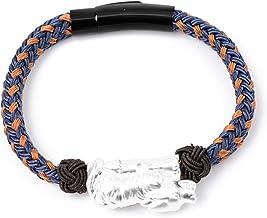 N/A Sieraden 999 Voet Zilver Wolf Outdoor Touw Gevlochten Armband Modieuze mannen Maat Aanpasbare Armband Moederdag Kerst ...