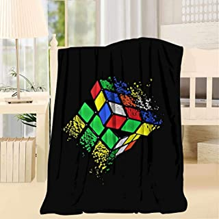 MAPICELLAjiow Rubik Cube Shattered Art Blanket Twin Throw Size Soft Home Decorative for Bed Sofa Couch Chair Garden Camping