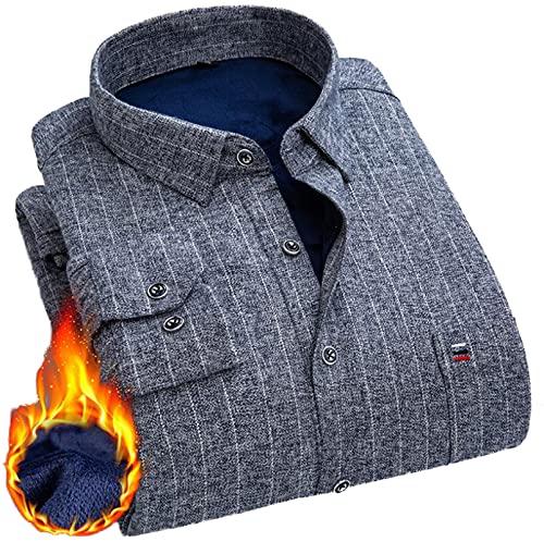 FGSJEJ Camisas a Cuadros de Franela para Hombre Blusa de Manga Larga Cuadros clásicos Blusas con Estilo Casual Ajuste Regular imprescindibles Hermosas Camisas para el Armario de Todos los Hombres