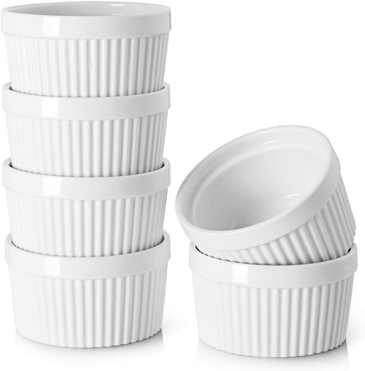 Dowan - 236ml Ramequines de porcelana para soufflé, crema Brulee, estilo clásico para hornear, juego de 6