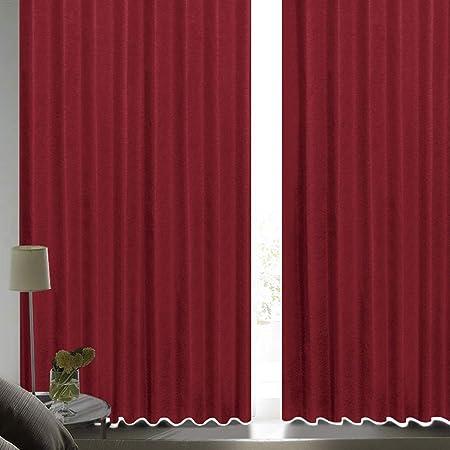 [カーテンくれない] 断熱・遮熱カーテン「静 Shizuka」完全遮光生地使用【形状記憶加工】遮音 防音効果で生活音を軽減 高断熱 静 遮光1級 全13色 色: ワイン (幅)100cm×(丈)200cm×2枚入 / Bフック/タッセル付き