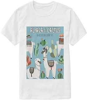 Llama and Cactus T Shirts for Men Crew Neck Casual T-Shirts Dad Tee Shirt