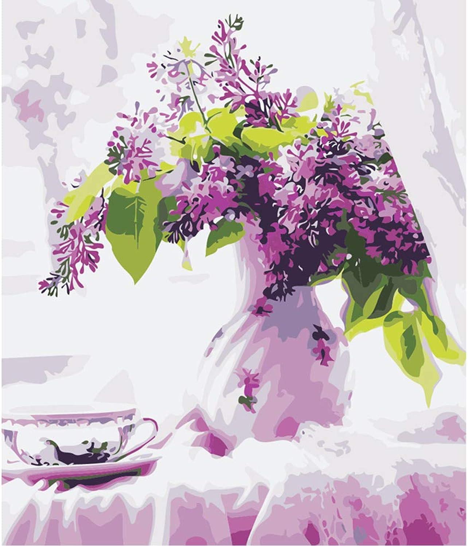 NGDDXTG DIY Malen nach Zahlen Art Malen nach Zahlen purple Flower Flowerpot Digital Painting EIN Bild der Hauptdekoration