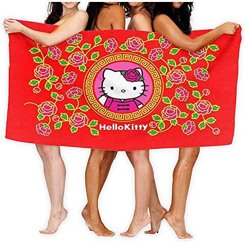 Lfff Hello Kitty Red Soft Absorbente Ligero para baño Piscina Yoga Pilates Manta de Picnic Toallas de Microfibra 80cm * 130cm