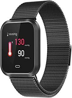Niome Smart Watch Color Bracelets IP67 Waterproof Fitness Blood Pressure Oxygen Heart Rate Sports Smartwatch Tracker for Android iOS Steel Strap Style Black