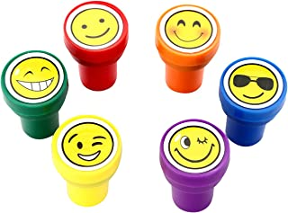 Stamps for Kids, LUCKYBIRDS0315 Best Sell Plastic Self Inking Smiley Stamps Set, 6 Count