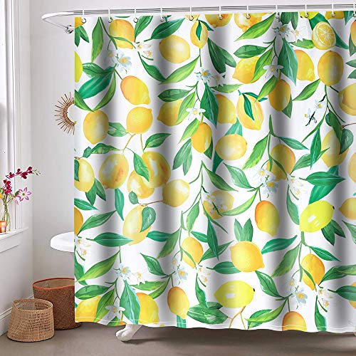 Shower Curtain Polyester Fabric Lemon Shower Curtain Waterproof Machine Washable for Bathroom with 12 Hooks 71×71 Inch