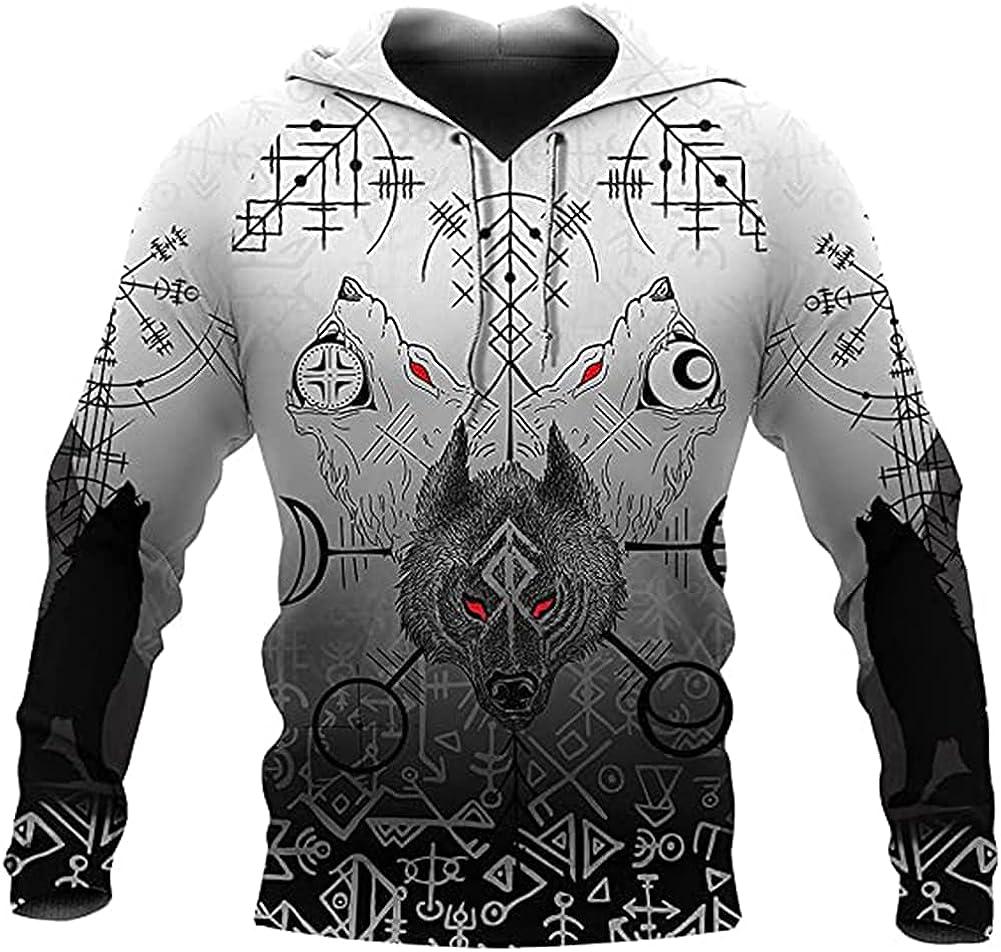 Men's Viking Odin Fenrir Wolf Tattoo Hoodie, Norse Mythology 3D Graffiti Long Sleeve Sweatshirt Casual Jacket
