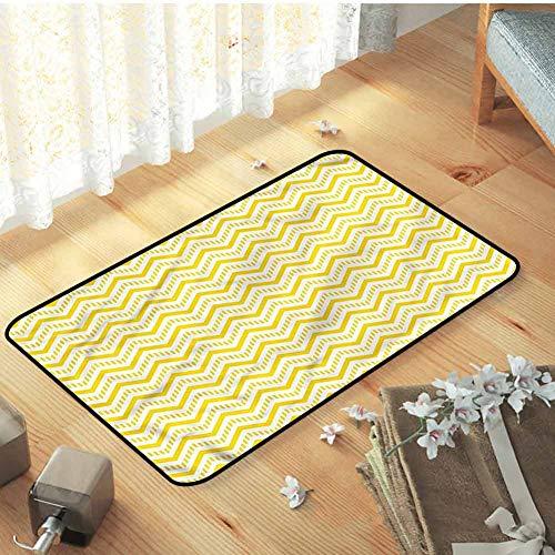 Indoor Outdoor Bath Mat Bathroom Rug Carpet Yellow Chevron Zig Zag 90s for Entryway, 31.5 x 19.5 inch