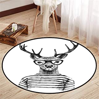Circle mat Area Round Indoor Floor mat Entrance Circle Floor mat for Office Chair Wood Floor Circle Floor mat Office Round mat for Living Room Pattern 2'9