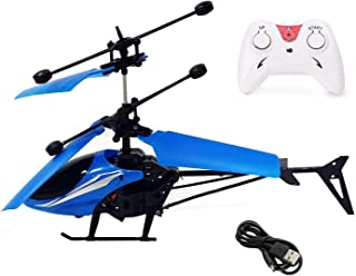 Radio Remote Control and Hand Sensor Charging Helicopter Toys with 3D Light Toys for Boys Kids (Indoor & Outdoor Flying)(M...