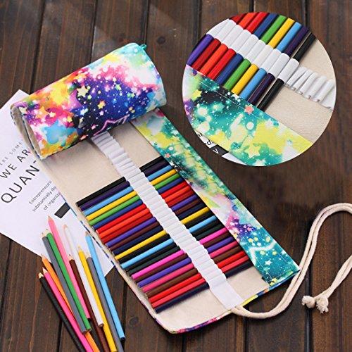 Asnlove Retro Pencil Wrap Roll up Holder Rollentasche Federmappe Schlamperrolle Mäppchen Bleistiftkasten für 72 Löcher Farbige Stifte für Buntstift aus Canvas für Make up/Schule/Büro/Kunst