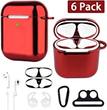 XORDING AirPods Case Front LED Visible Plating Soft TPU Protective Cover Shockproof Skin Airpods Accessories Kit for Apple AirPods 1 & AirPods 2 Charging 2019 (Red)