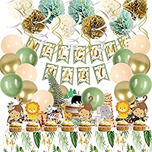 1.ABOUT PACKAGE:1 x welcome baby banner,8 x animals cake toppers,woodland balloons (6 x green,6 x champagne,6 x gold),paper pompoms(3 x white,3 x gold,3 x green),12 hanging swirls ,1x green tablecloth 2.CLASSY SWEET BABY SHOWER PARTY DECORATIONS:perf...