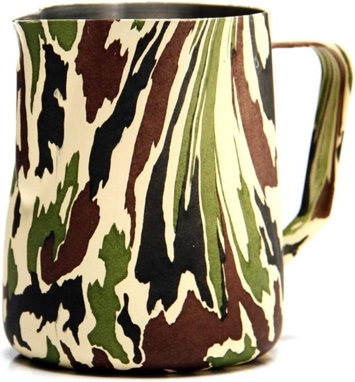 Durable Camouflage Style Pot À Lait Mousser Pitcher Espresso Café Barista Artisanat Latte Café En Acier Inoxydable Tasses Espresso Bien fait (Color : 300ml) 300ml