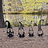 Set of 4 Steel Branch Gnomes Decoration - Gnomes Silhouette Stake, Cute Hollowed Out Gnomes Decor, Lawn Yard Art, Dwarf Decor Branch Ornaments for Home Garden Patio